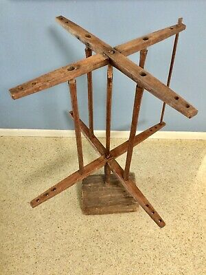 Antique Yarn Winder Primitive Wood Spinning Wheel Nice Patina • 141.15£