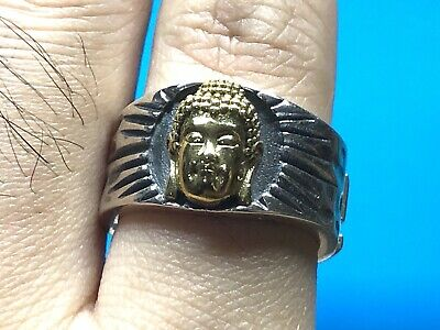£38.98 • Buy Solid 925 Sterling Silver Stamped Mens Heavy Buddha Ring Adjustable Size