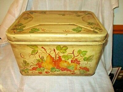 $14.50 • Buy Vintage Decoware Vented Tin Metal Bread Box W/Hand Painted Fruit Design