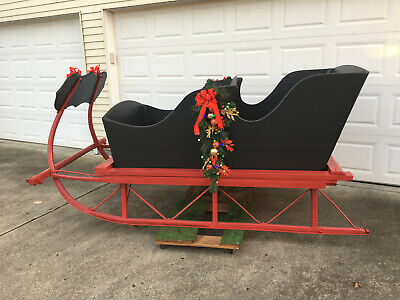 $1500 • Buy Antique Horse-drawn Sleigh | Full Size | Black & Red | Indiana Local Pick Up