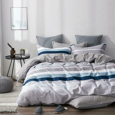 AU38 • Buy All Size Bed Quilt Duvet Doona Cover Set 100% Cotton Bedding Pillowcase Blue