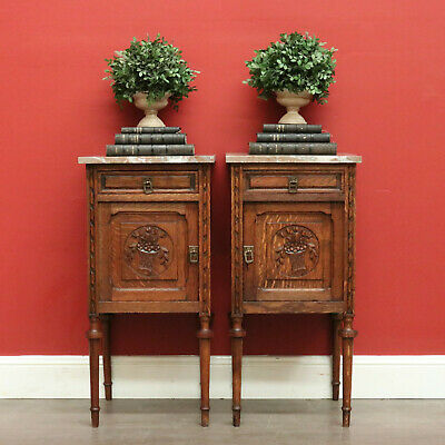 AU1495 • Buy Pair Of Antique French Bedside Tables, Oak And Marble Lamp Tables, Hall Cabinets