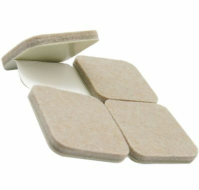 Thick BEIGE FELT PADS ~ 25mm X 25mm ~ Sticky Tape Floor ANTI SCRATCH PROTECTION • 1.95£