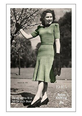 £3.99 • Buy 1940's Pretty Flared Dress With Long Or Short Sleeves Vintage Knitting Pattern