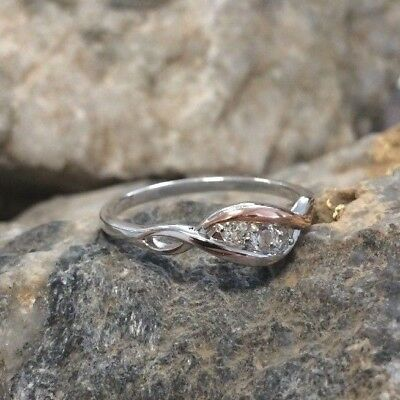 Clogau Welsh Silver & Rose Gold Past Present Future Ring £40 Off! SIZE Q • 39£