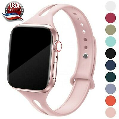$7.85 • Buy Soft Silicone Narrow Sport Band Fits W/ Apple Watch Series 6, 5, 4, 3, 2, 1, SE