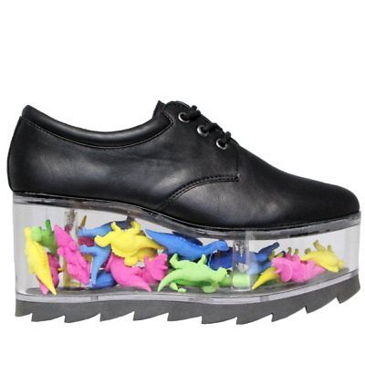 YRU Qloud 2091 Black Clear Compartment Punk Rave Gothic Platforms Sneakers Shoes • 131.71£