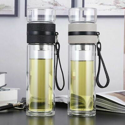 Water Bottle 500ml Double Wall Glass Portable Outdoor Drinking With Tea Infusers • 16.12£