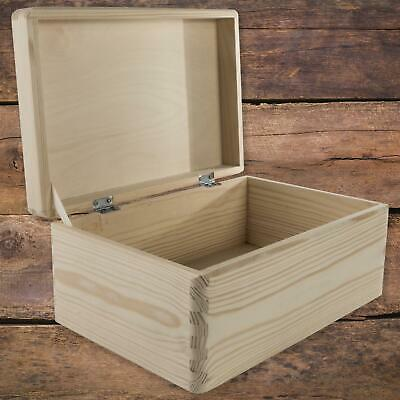 Wooden Box With Lid | 30 X 20 X 14 Cm | Keepsake Chest Plain Pine Decor Craft • 13.95£