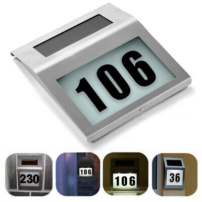 1x Modern Solar Powered LED Illuminated House Door Plaque Number Address Light • 9.99£
