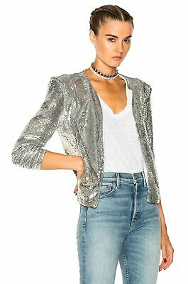 $ CDN116.45 • Buy IRO Waklyn Silver Sequin Twill Jacket 36 US 4 NEW WITH TAGS