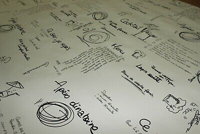 PVC French Writing Script Menu Oilcloth Vinyl Tablecloth Wipe Easy 140CM Wide • 18.97£