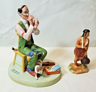 $ CDN8.37 • Buy Vintage Lot - 1980 Man Threading A Needle & Native Lady Carrying Water Bottle