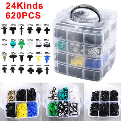 $31.36 • Buy 620 Pcs Plastic Auto Fasteners Clip Bumper Fender Repair Parts Kit 24 Kinds USA