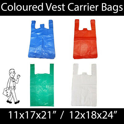 Coloured Vest Carrier Bags BLUE GREEN RED WHITE STRONG Shopping Groceries Market • 5.49£