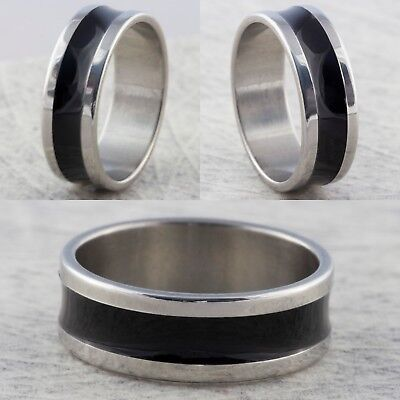 8mm Stainless Steel Silver Black Mens Womens Wedding Band -  Ring Sizes L To Z • 4.99£