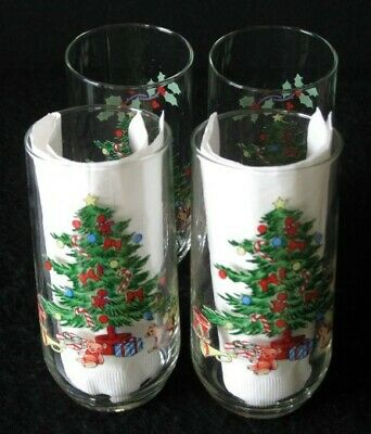 $12 • Buy 4 Holiday Hostess Christmas Tree 16oz Glasses Tienshan Noel Glassware 3setsaval