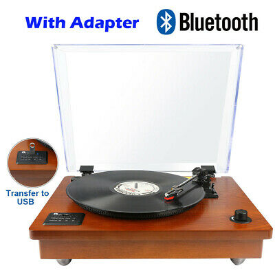 AU113.99 • Buy Vintage Wooden Vinyl Stereo Turntable Bluetooth Record Player With Speakers