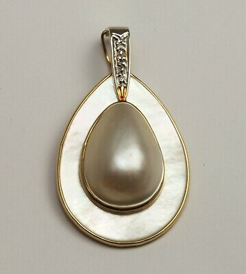$358 • Buy 14K Solid Yellow Gold Diamond Mabe Pearl Charm Enhancer