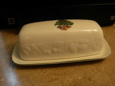 $9.50 • Buy Christmas Time Tree Tabletops Unlimited Stick  Butter Dish White Green Trim