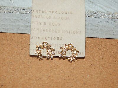 $ CDN29.18 • Buy Earrings S Circles Delicate Anthropologie Wreath Gold Fill Rhinestones $44 Nwt