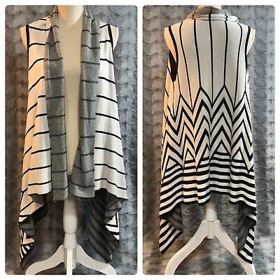 $12.99 • Buy Merona Women's Size Small Cream Black Stripe Open Front Sweater Vest Draped