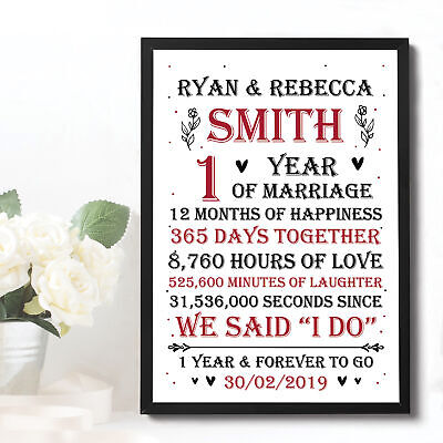Wedding Anniversary Print Gift 1st 5th 10th 30th 50th Anniversary Gift For Him • 6.99£