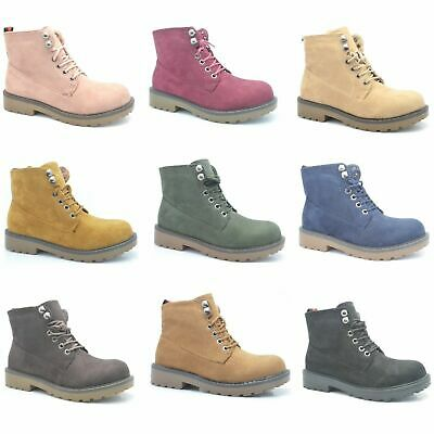 Womens Winter Ankle Boots Ladies Army Combat Flat Grip Sole Faux Sued Shoes Size • 14.99£