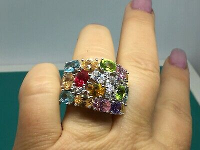 $150 • Buy Charles Winston Sterling Silver Multi Color & Shape Cubic Zirconia Wide Ring