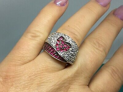 $130 • Buy Charles Winston Sterling Silver Simulated Ruby & Cubic Zirconia Heart Ring
