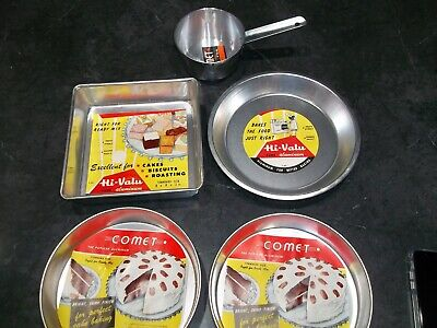 $34.99 • Buy Vintage Nos New Comet Aluminum Round Square Cake Pans Pie Plate Small Sauce Pan