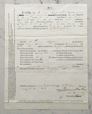 $299.95 • Buy Antique Civil War Discharge Document Signed By Brigadier General James Oakes