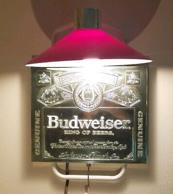 $ CDN72.60 • Buy Budweiser Beer Sign Lamp Wall Mount Plastic Red Chrome Metal Frame