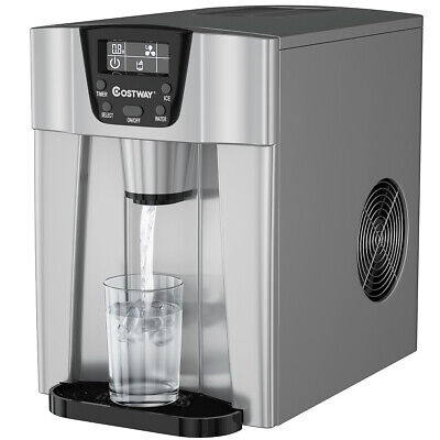$169.95 • Buy 2 In 1 Ice Maker Water Dispenser Countertop 26Lbs/24H LCD Display Kitchen Silver