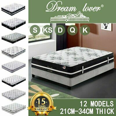 AU107.10 • Buy Dream Lover Mattress Queen Double King Single Bed Memory Foam Pocket Spring