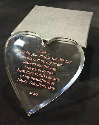 AU45 • Buy Acrylic Heart Engraved VALENTINES DAY Gift For Her
