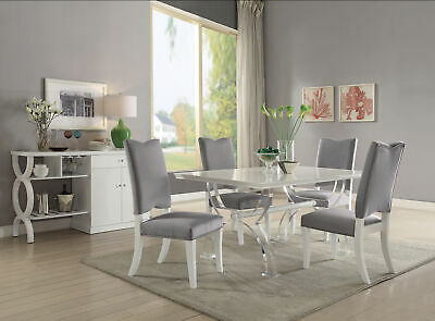 $1141 • Buy Martinus - Dining Table White High Gloss & Clear Acrylic