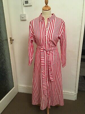 $17.04 • Buy Zara Red White Striped Belted Maxi Shirt Dress Size Extra Large Xl