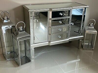 Mirrored Venetian Sideboard Chest Cabinet Drawers Antique Silver Finish • 259.95£