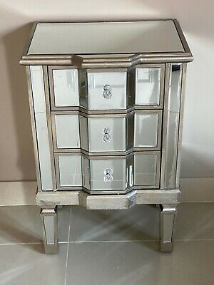 Mirrored Antique Venetian Bedside Chest Of Drawers Champagne Silver Finish • 139.95£