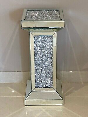 Mirrored Crushed Crystal Diamond Pedestal Table End Table Lamp Table • 179.95£