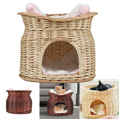 Wicker Pet Bed Cat Puppy Small Dog Basket Pod Two Tier Cushion Raised Play House • 27.92£
