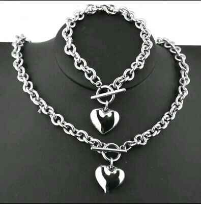 Two Piece Silver Heart Charm T-bar Link Necklace And Bracelet Valentines Day 628 • 15£