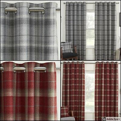 CHECKED Ready Made Curtains BLACKOUT Thermal LINED EYELET Ring Top Red Grey • 46.99£