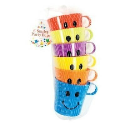 6 X Smiley Face Cups Children's Kids Plastic Party Holidays Garden Beach Mugs  • 7.94£