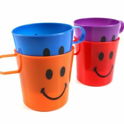 8 CHILDRENS HANDLED CUPS Smiley Face Plastic Mug Beach Picnic Party Kids Tumbler • 6.95£