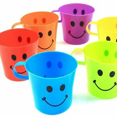 6 X Children's Smiley Face Plastic Cups Mugs Beakers Set With Handle Kids Fun • 6.95£