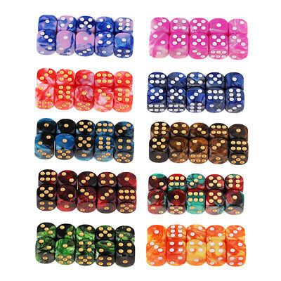 AU35.74 • Buy 100x Assorted 6-Sided 16mm (D6) Resin Role Play Gaming Dice Set With Pips