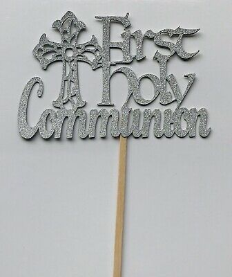 Glitter Sparkly Paper First 1st Holy Communion  Silver CAKE TOPPER Decoration  • 3.99£
