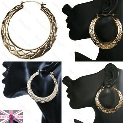GOLD/SILVER FASHION Small/medium/large CREOLE HOOPS Bamboo HOOP EARRINGS Creoles • 2.59£
